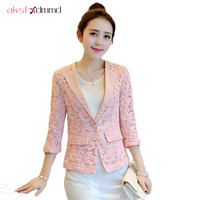 Lace Print 3 4 Sleeve Women Blazer Spring Casaco Feminino 2015 New Arrival Slim Female Casual
