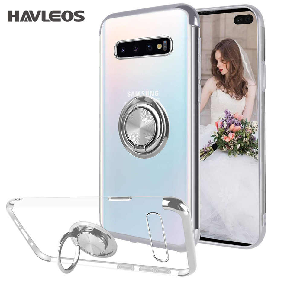 Magnetic Ring Holder Transparent Phone Case For Samsung Galaxy S9 S10 Plus Lite S10E Note 9 Slim Clear Soft TPU Silicone Cover