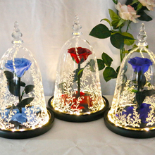Beautiful Eternal Flower Preserved Fresh Live Rose In Dome Glass With Gift Box Best For Valentines Day Girlfriend Wife