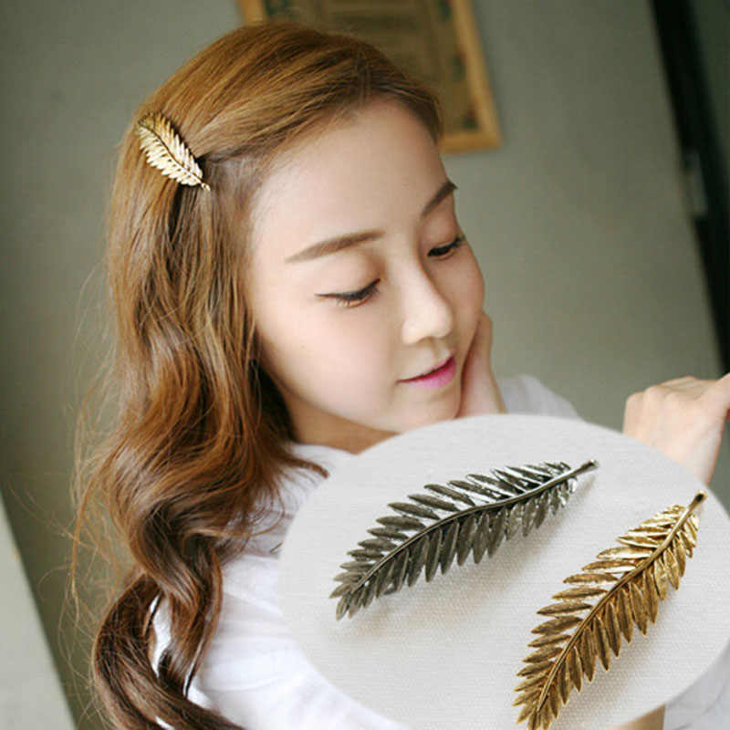58c12f2b0 Detail Feedback Questions about Hot Sale Korea Style Retro Metal Feather  Leaves Hairpin Spring Clip Leaves Hair Clips For Women Girl Jewelry Gift on  ...