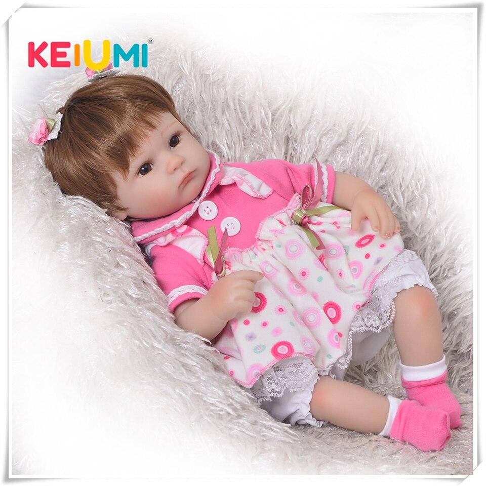 Может сидеть и лежать 17 дюймов Reborn новорожденный Bay Куклы Мягкие силиконовые Реалистичная жив принцессы для малышей для дня рождения Рождес...