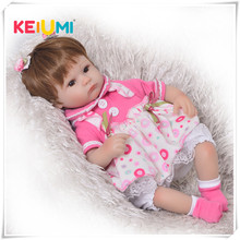 KEIUMI Hot 17 Inch Reborn Baby Doll Toy Soft Silicone Realistic Alive Princess Babies Doll For Kids Birthday Christmas Gift(China)