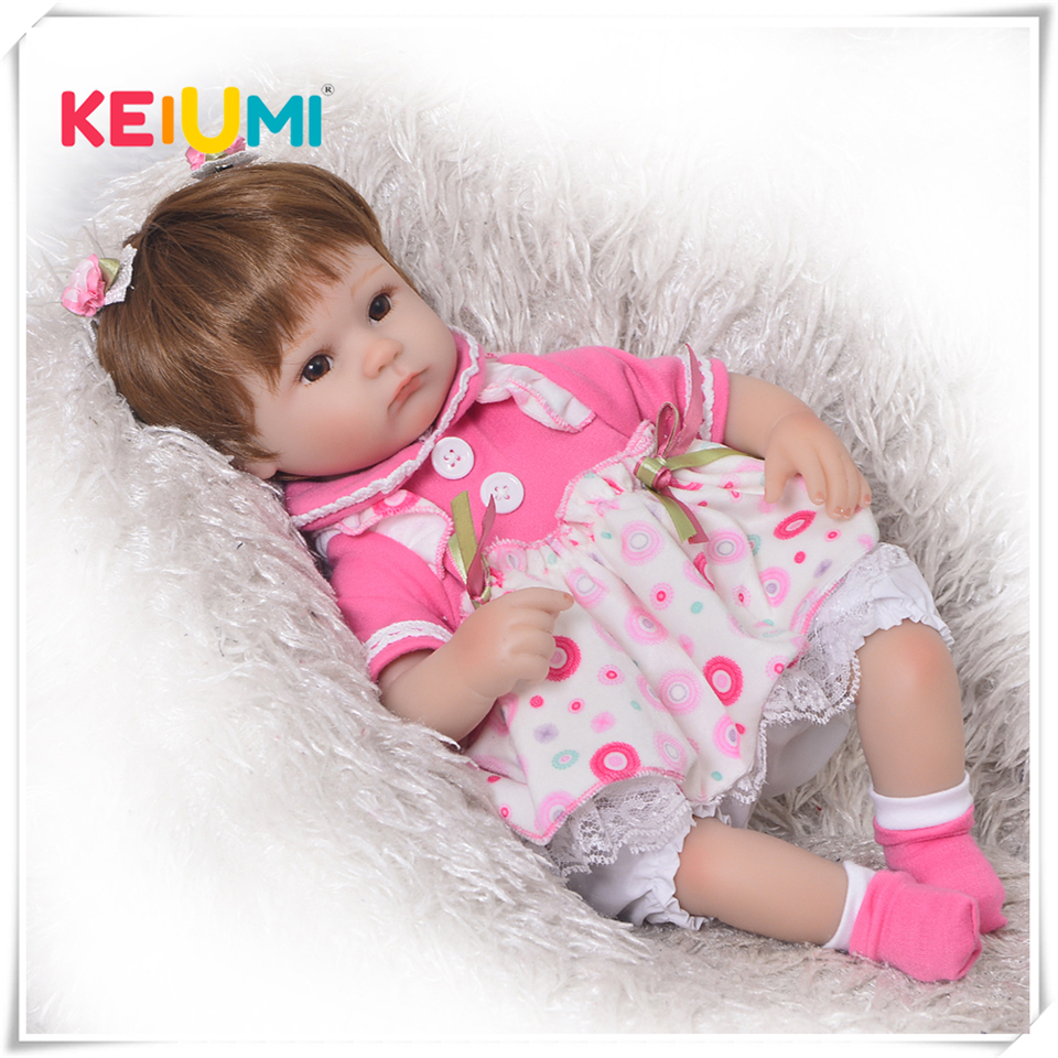 Keiumi quente 17 Polegada reborn bebê boneca de brinquedo silicone macio realista vivo princesa bebês boneca para crianças aniversário presente natal