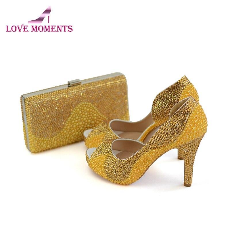 Gold Rhinestone Yellow Pearl Bridal Dress Shoes Clutch 4 Inches High Heel Summer Peep Toe Wedding