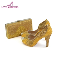 Gold Rhinestone Yellow Pearl Bridal Dress Shoes Clutch 4 Inches High Heel Summer Peep Toe Wedding Party Shoes with Matching Bag