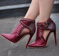 Spring New Fashion Burgundy Crocodile Leather Women Pointy Toe Ankle Boots Luxury Rhinestone Buckles Ladies High
