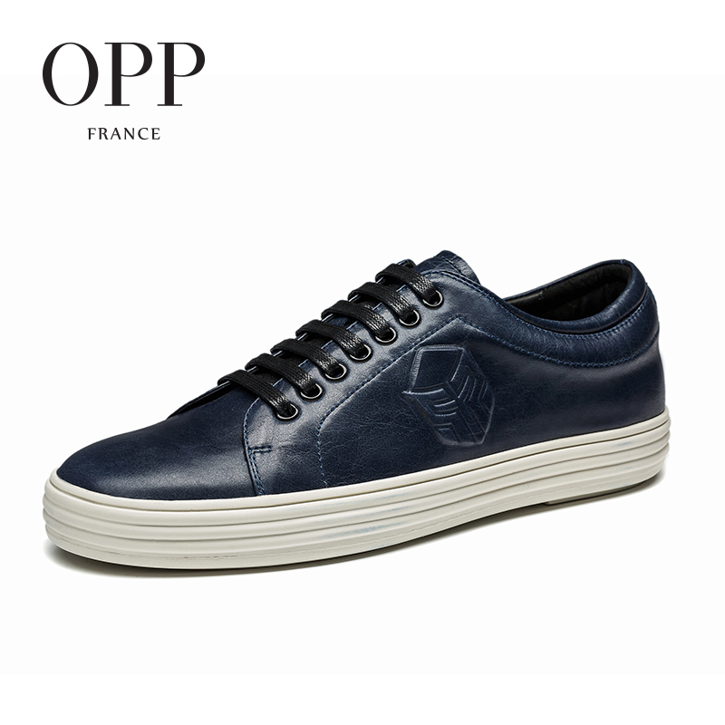 OPP 2017 Cow Leather Flats Blue Shoes Genuine Leather Loafers For Men Shoes moccasins Summer Mens Casual Footwear Young Flats