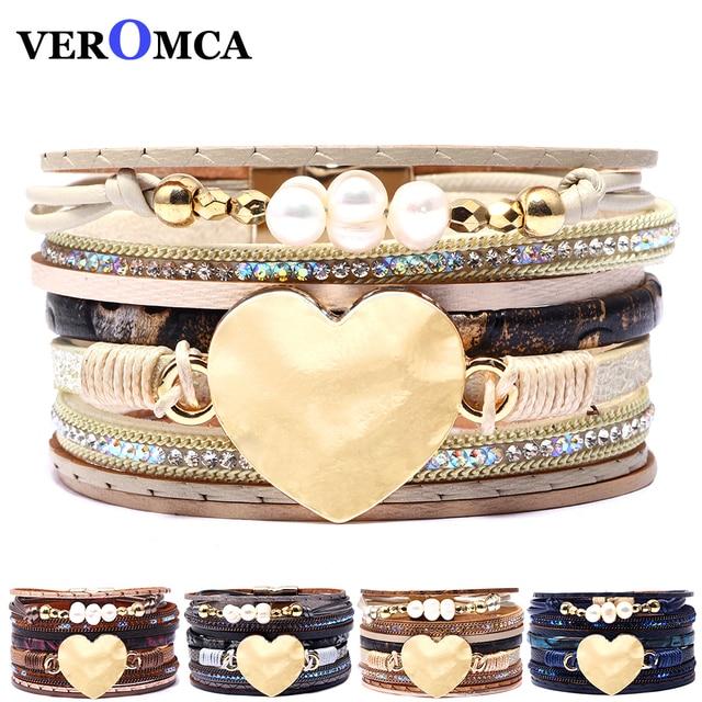 74d226187b2c VEROMCA multicapa pulseras de cuero para las mujeres Femme perlas encanto  bohemio estilo pulsera mujer joyería 5 colores