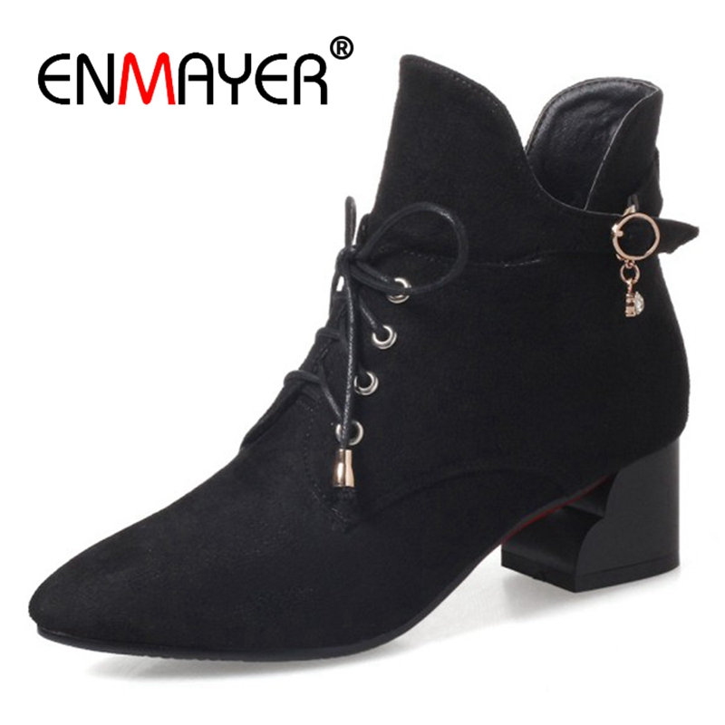 ENMAYER 2018 Solid Buckle Boots Pointed Toe PU Square Heel Basic Shoes Spring/Autumn Women Dating Fashion Plus Size CR687