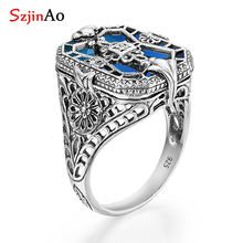 все цены на SzjinAo Wholesale Dropshipper 925 sterling silver Finger Ring ASeptember birthstone sapphire Rings For Women Engagement Jewelry онлайн