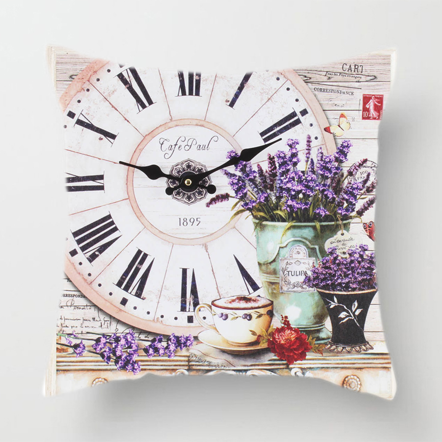 Image 3 - Clock Flower Throw Cushion Pillow Covers 45x45cm Decorative Kitchen Sofa Wedding Home Decoration Accessories Pink Room Decor-in Cushion Cover from Home & Garden