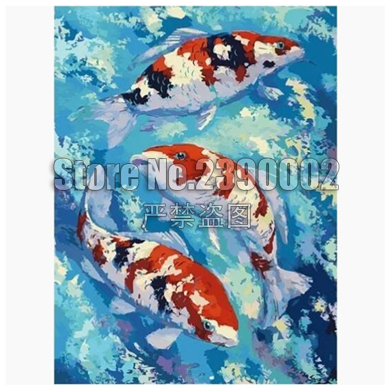 DIY Diamond Painting Fish Diamond Embroidery Cross Stitch Cartoon Full Mosaic Kit Garden Decoration Cross Stitch Picture Decor