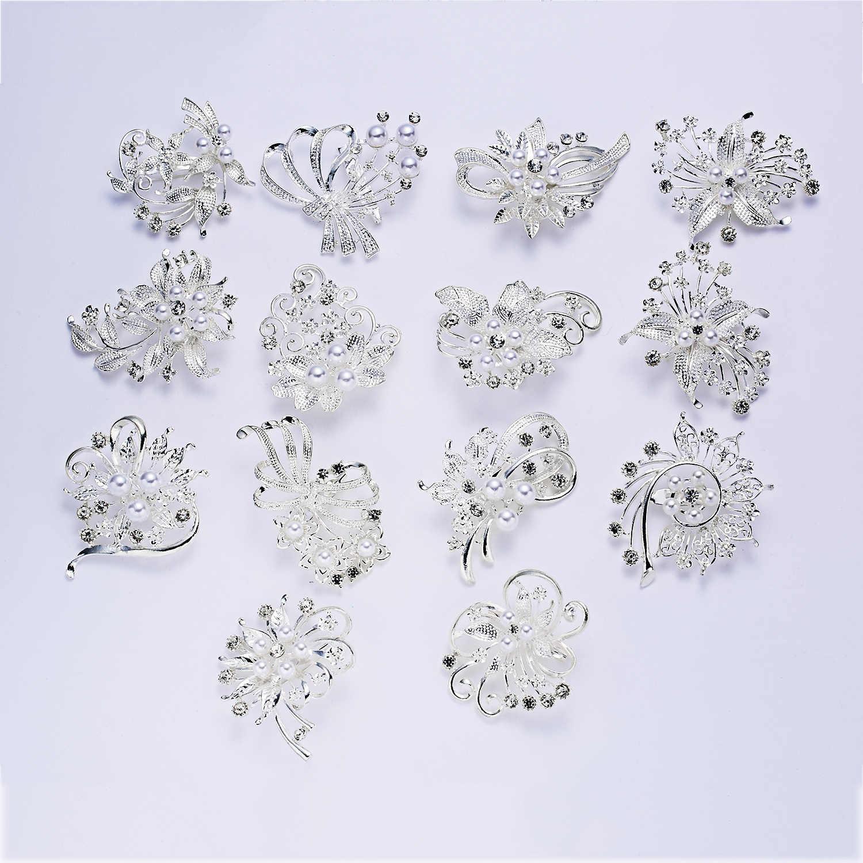 Rinhoo Delle Donne di Modo di Grandi Dimensioni Spille Signora Fiocco di Neve Imitazione Perle di Strass di Cristallo di Cerimonia Nuziale Spilla Spille Gioielli Accessoriare