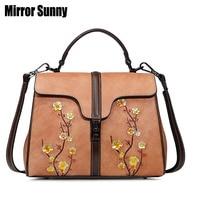 New Arrival Messenger Bags For Women Plum Blossom Embossed Genuine Leather Female Handbags Flap Top Handle Bag Large Capacity