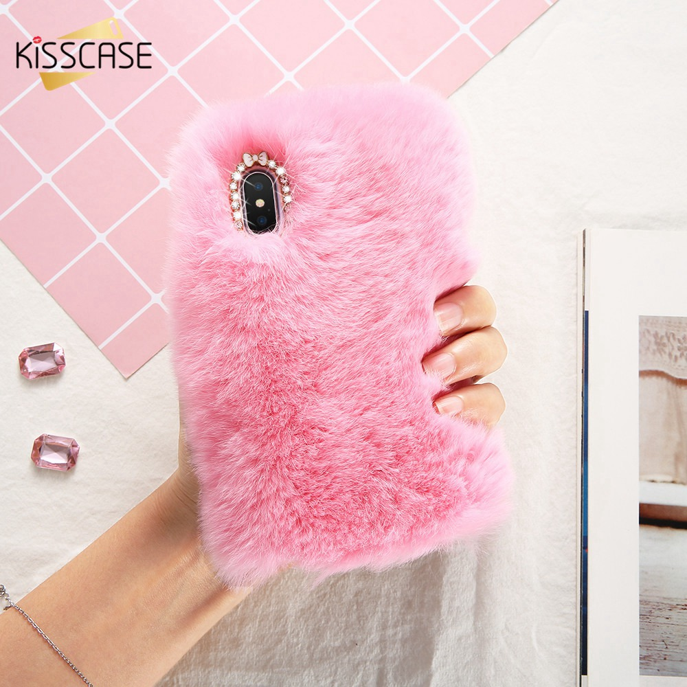 KISSCASE Real Rabbit Fur Case For iPhone X Luxury Winter Hairy Diamond...