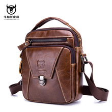BULLCAPTAIN NEW Genuine Cow Leather Mens Bag Messenger Bags Men Flap Casual Solid Handbags Multi-pocket Small Male Shoulder Bag cheap Genuine Leather Polyester Single NONE Fashion zipper Soft Cell Phone Pocket Interior Zipper Pocket Interior Compartment
