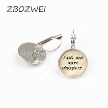 ZBOZWEI 2018 Book Lover Quote Just One Chapter earring Word Jewelry Letter Sweater earring Reader Bookworm Gift Glass earring