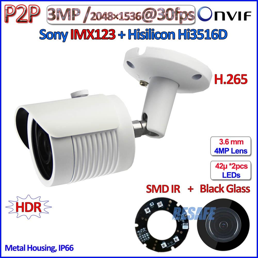 imágenes para 3.2MP IMX123 Hi3516D Sensor de 2MP cámara ip ONVIF 3.0MP 1080 P poe ip cámara de vigilancia P2P al aire libre SMD LED IR $ NUMBER MP HD Lente + soporte
