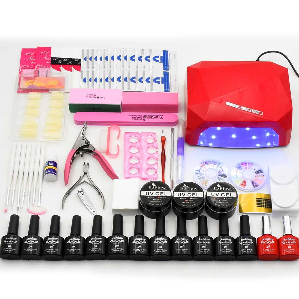 Nail art set NAIL Lamp 36W Dryer Manicure Tool 12 Color 10ml Soak Off Nail Polish Gel varnishes UV Gel Build Extension nail kits