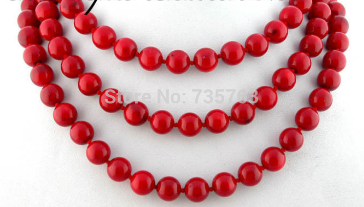 xiuli 0014891 Excellent 50 11mm nature round red coral necklace 14KGPxiuli 0014891 Excellent 50 11mm nature round red coral necklace 14KGP
