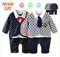 Baby Clothes Polka Dot Costume Kids Boys Black Tie Blue Star Grey Red Striped Rompers Spring Long Sleeve Baby Cotton Costume
