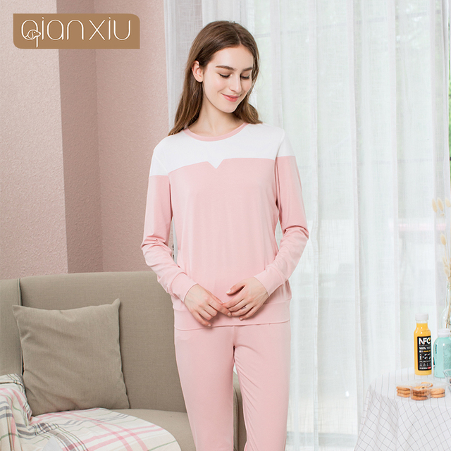 56d4673fca Qianxiu Real Sale Solid Cotton Pajamas Ladies Pyjamas Women Cotton  Homedress Spring Letter Print Pajama Sets 17105