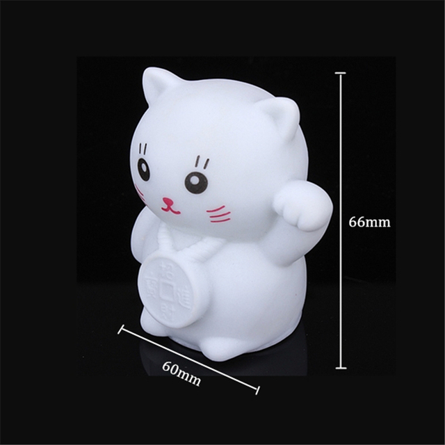 Novelty Cat Night Light Magic PVC Led Lucky  Flashing Lamp Changing Colors Colorful Bedroom Holiday Home Decor Kids  Gift 2