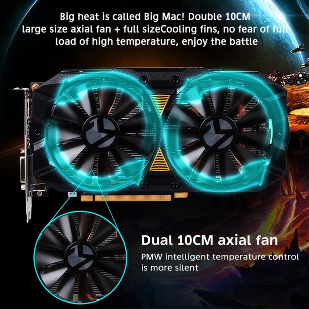 🛒 MAXSUN graphic card rx 580 Big Mac Plus 8G PC AMD 256bit