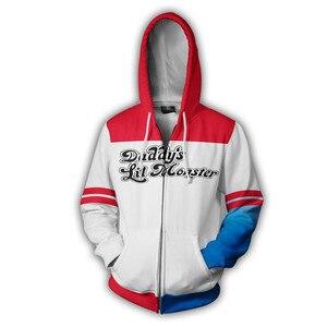 Image 2 - Chaqueta con capucha de Harley Quinn para hombre y mujer, disfraz de Cosplay, chaqueta