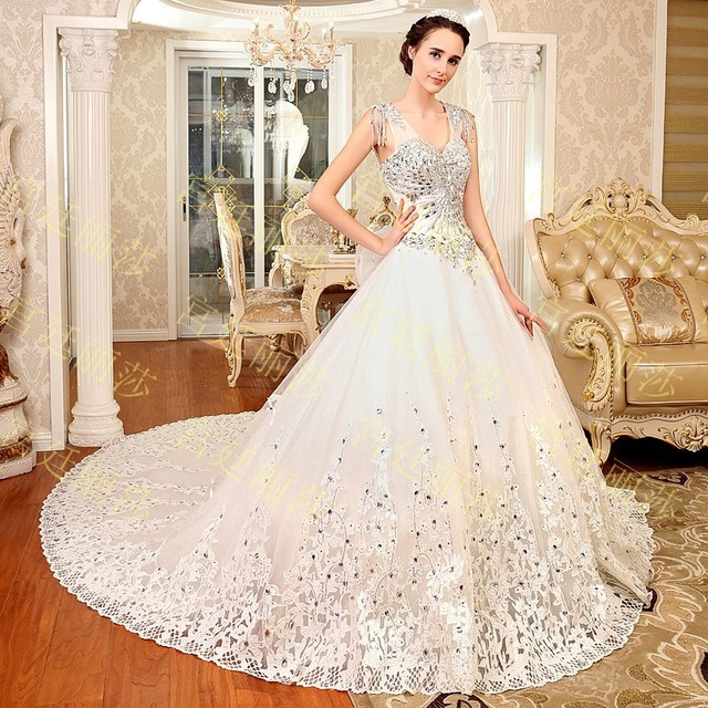 2015 Luxurious crystal V neck Wedding dress lace up sequin organza ...