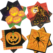 Omilut Halloween Disposable Napkins Paper Pumpkin  Birthday Party Tableware for Kids Suppli