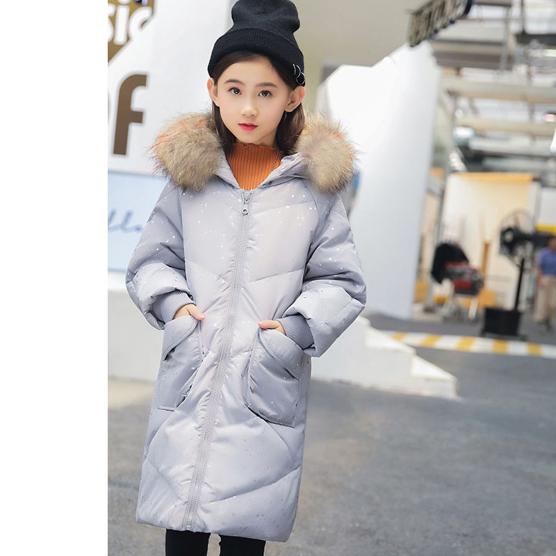 New 2018 Fashion Children Winter Duck Down Jackets Girls Tops Kids Fur Hooded Print Long Coats For Teenage Warm Thick Outerwears new 2018 fashion children winter jackets girls winter coat kids warm hooded long down coats for teenage girls casaco infantil 12