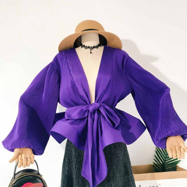 White Fairy Blouse Top Long Sleeve Women Autumn 2018 Korean Lantern Sleeve Waist Slim Bandage Bow High Street Ruffle Girls Shirt
