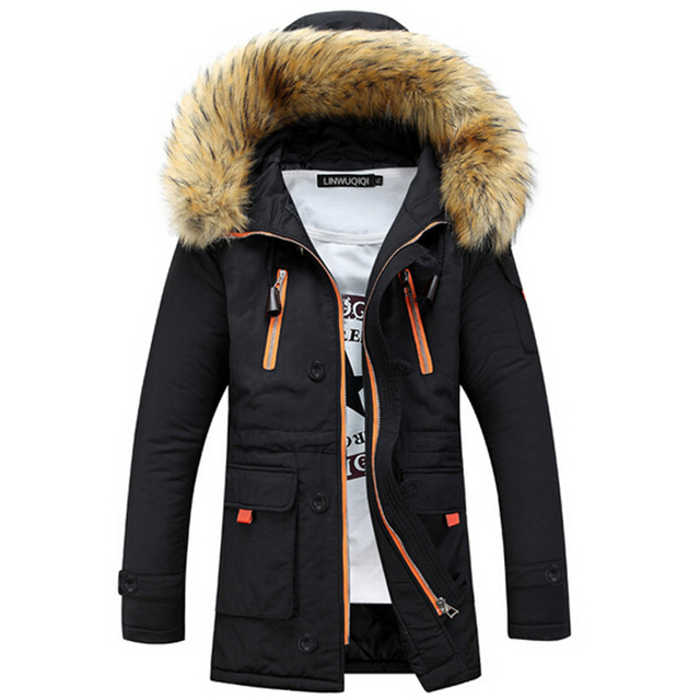 Winter Thickening Jacket Men Casual Warm Fur Hooded Collar Jackets Down Coat Baseball Design Plus Size S-XXXL Veste Homme Parka