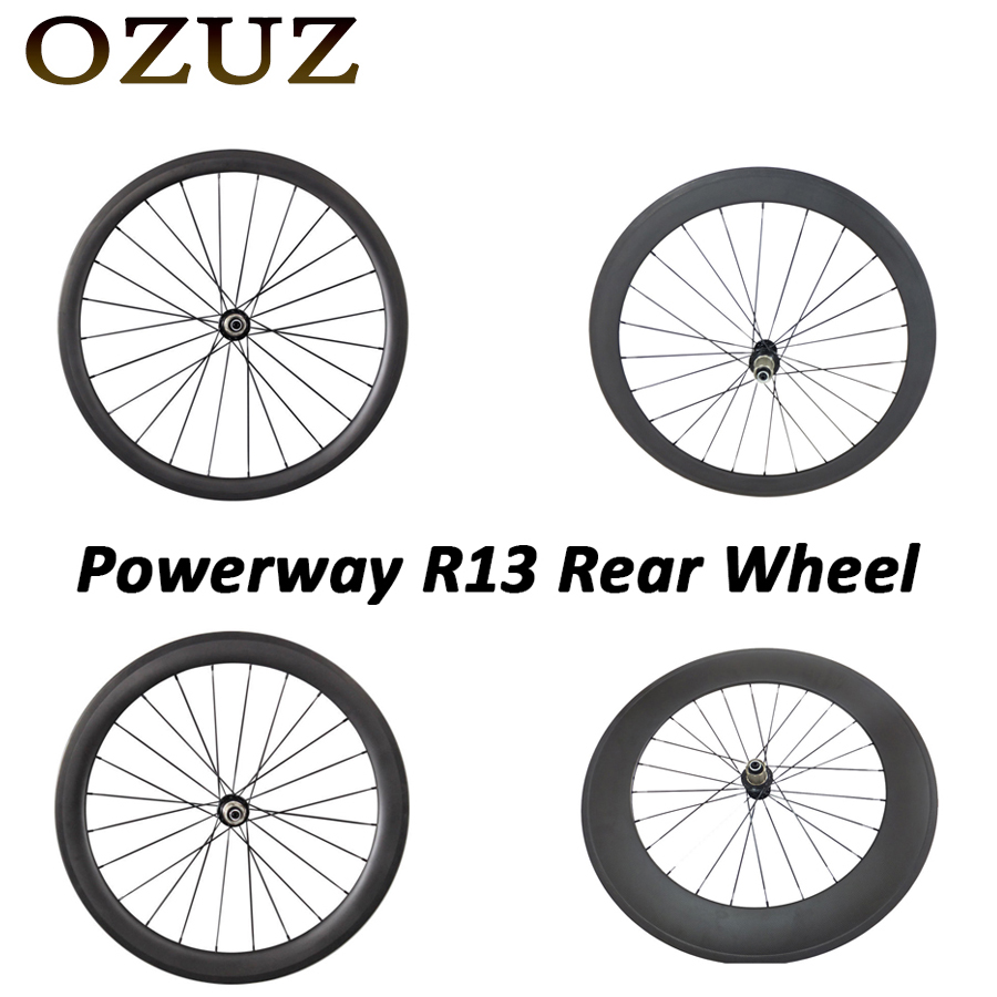Powerway R13 OZUZ 700C 24mm 38mm 50mm 60mm 88mm Clincher Tubular Carbon Road Bike Bicycle Carbon Wheels Racing Only Rear Wheel free tax carbon bike front 60mm rear 88mm tubular racing wheels road cycling super light bicycle wheel set