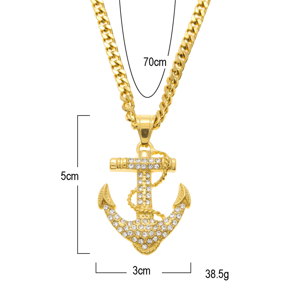 Uwin men women gold anchor pendant stainless steel lced out cz uwin men women gold anchor pendant stainless steel lced out cz rhinestone metal pendant necklace cuban chain hip hop jewelry in pendants from jewelry aloadofball Gallery