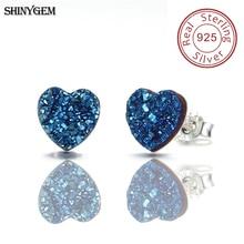 ShinyGem 8mm 925 Sterling Silver Stud Earrings Love Heart Triangle Oval Water Drop Small Druzy Natural Stone Earrings For Women все цены