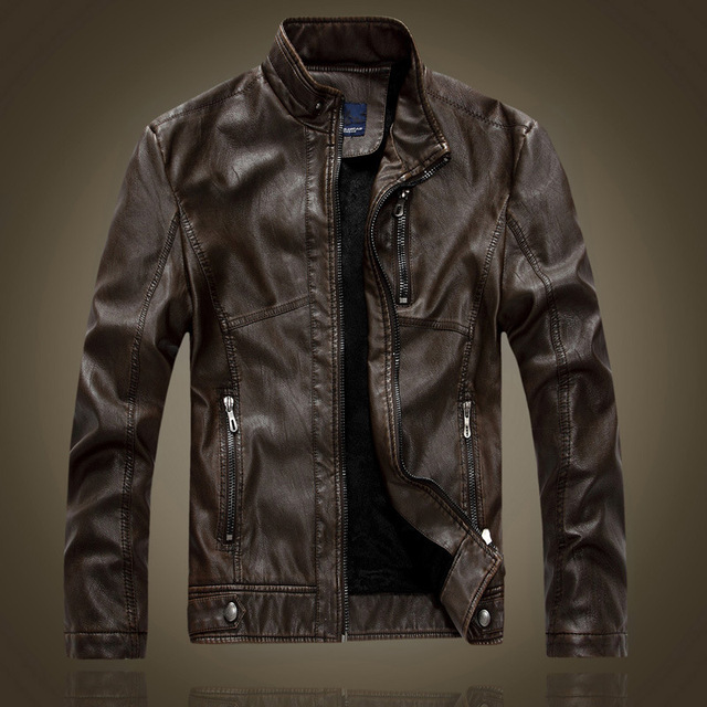 Stand Collar Fashion Vintage Style Leather Jacket Men Motorcycle