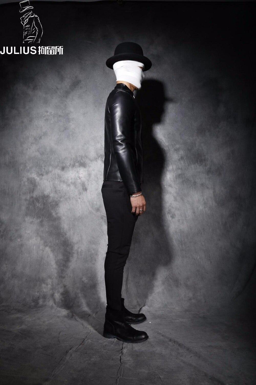 ¡M 2XL! abrigo de cuero corto con cuello de cuero ajustado para hombre nuevo invierno antipersonalidad - 3