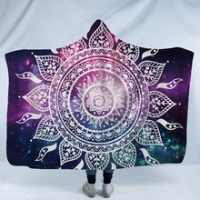 Mandala Hooded Blanket For Home Travel Picnic 3D Printed Portable Blankets For Sofa Wearable Warm Throw Blanket For Adults Kids halloween hooded blanket for home travel picnic 3d printed portable warm blanket for sofa wearable throw blanket for adults kids