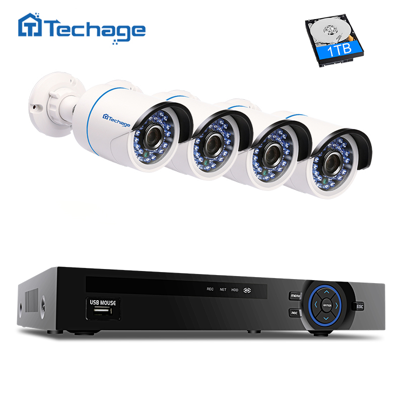 Techage 4CH 1080P NVR Kit Security Camera POE CCTV System IR Night Vision 4PCS 2MP Outdoor