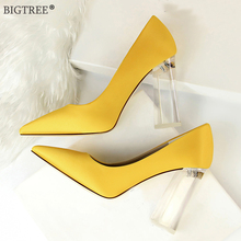 Big Size Women high heels transparent Square heel crystal shoes pointes solid color silk pumps 2019 new party wedding shoe Sexy