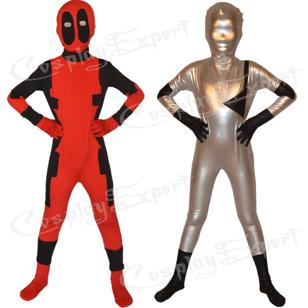Free Shipping DHL Cheap Real Children Deadpool Zentai Suit Superhero Costume Cosplay Fancy Dress Kids Halloween Costume KC2010