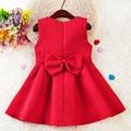 2017 children's Bow Kids red vest party Evening dresses for girls baby A Line christmas princess dress  Vestidos