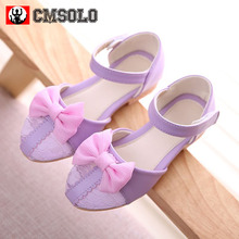 CMSOLO Girls Sandals 3 Colors Bowtie Princess Shoes Kids Baby Dancing Party Shoes for Girl Size 26-36 Children Summer Shoe New
