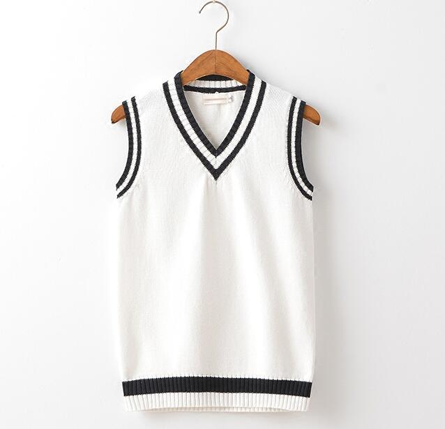 British School Uniform Sweater Vest Women Men Black and White ...
