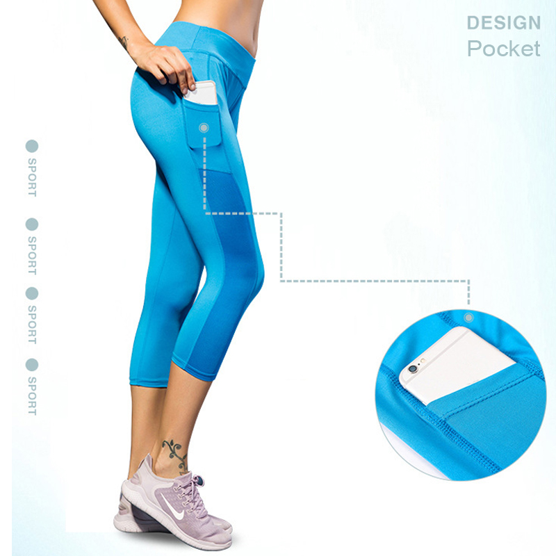 Sports Wear For Women Gym Leggings 3/4 Tights Strenchy Yoga-pants Trousers Running Tights Sports Trousers Running Workout Pants(China)