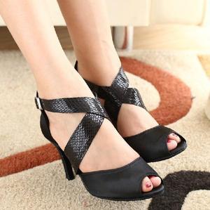 Image 2 - DILEECHI zapatos de baile latino para mujer, calzado con estampado de serpiente de satén negro, suela exterior blanda, zapatos de baile de salón, zapatos de Salsa de vals