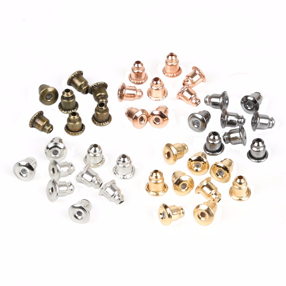 200pcs/lot Earrings Jewelry Accessories Metal Ear Earring Back Earring Stopper Plugs Blocked Diy Jewelry Making 5x6MM jewelry making