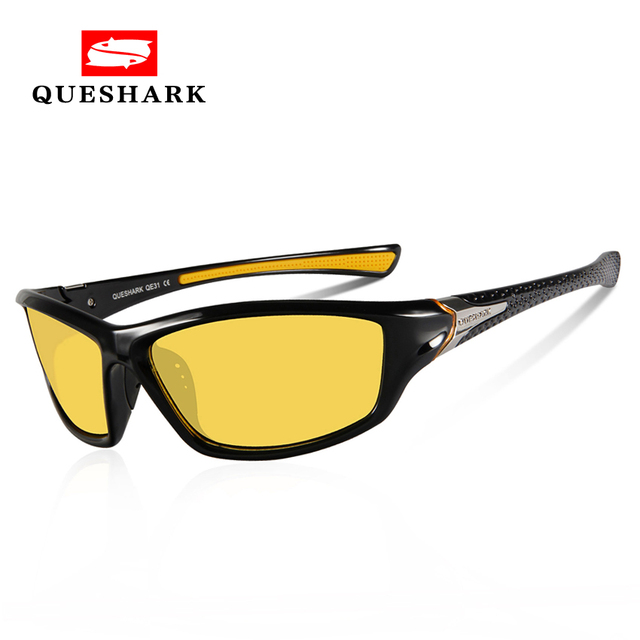 fe2eac0c81 Best Offers QUESHARK TR90 Yellow Len Night Riding Glasses Uv Protection Cycling  Eyewear Hiking Camping Goggles